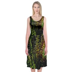 Green Leaves Psychedelic Paint Midi Sleeveless Dress