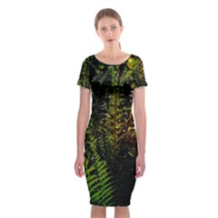 Green Leaves Psychedelic Paint Classic Short Sleeve Midi Dress