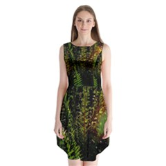 Green Leaves Psychedelic Paint Sleeveless Chiffon Dress