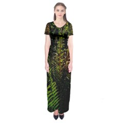 Green Leaves Psychedelic Paint Short Sleeve Maxi Dress