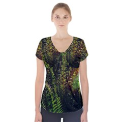 Green Leaves Psychedelic Paint Short Sleeve Front Detail Top