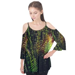 Green Leaves Psychedelic Paint Flutter Tees