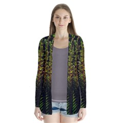 Green Leaves Psychedelic Paint Cardigans