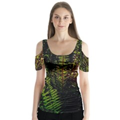 Green Leaves Psychedelic Paint Butterfly Sleeve Cutout Tee