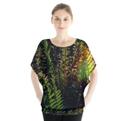 Green Leaves Psychedelic Paint Blouse