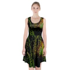 Green Leaves Psychedelic Paint Racerback Midi Dress