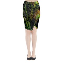 Green Leaves Psychedelic Paint Midi Wrap Pencil Skirt