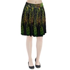 Green Leaves Psychedelic Paint Pleated Skirt