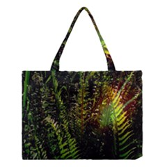 Green Leaves Psychedelic Paint Medium Tote Bag