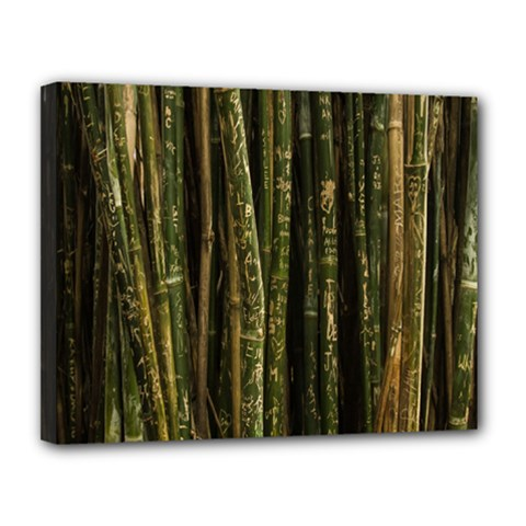 Green And Brown Bamboo Trees Canvas 14  x 11