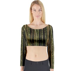Green And Brown Bamboo Trees Long Sleeve Crop Top