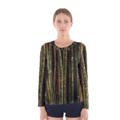 Green And Brown Bamboo Trees Women s Long Sleeve Tee