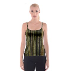 Green And Brown Bamboo Trees Spaghetti Strap Top