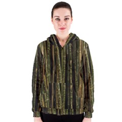 Green And Brown Bamboo Trees Women s Zipper Hoodie