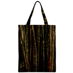 Green And Brown Bamboo Trees Zipper Classic Tote Bag