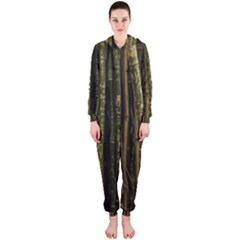 Green And Brown Bamboo Trees Hooded Jumpsuit (Ladies)