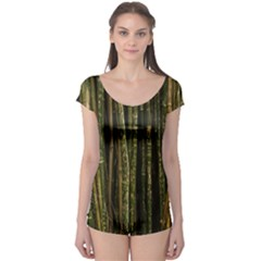 Green And Brown Bamboo Trees Boyleg Leotard