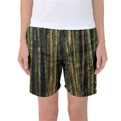 Green And Brown Bamboo Trees Women s Basketball Shorts