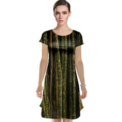 Green And Brown Bamboo Trees Cap Sleeve Nightdress