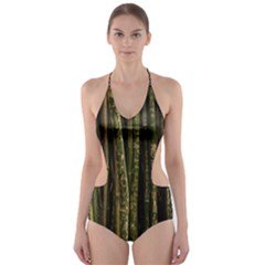 Green And Brown Bamboo Trees Cut-Out One Piece Swimsuit