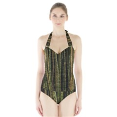 Green And Brown Bamboo Trees Halter Swimsuit