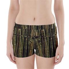 Green And Brown Bamboo Trees Boyleg Bikini Wrap Bottoms