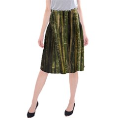 Green And Brown Bamboo Trees Midi Beach Skirt