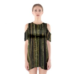 Green And Brown Bamboo Trees Shoulder Cutout One Piece
