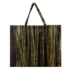 Green And Brown Bamboo Trees Zipper Large Tote Bag