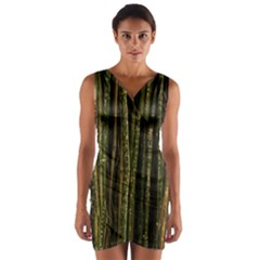 Green And Brown Bamboo Trees Wrap Front Bodycon Dress