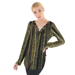 Green And Brown Bamboo Trees Women s Tie Up Tee