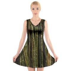 Green And Brown Bamboo Trees V Neck Sleeveless Skater Dress