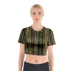 Green And Brown Bamboo Trees Cotton Crop Top