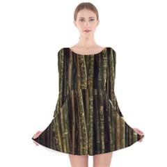 Green And Brown Bamboo Trees Long Sleeve Velvet Skater Dress