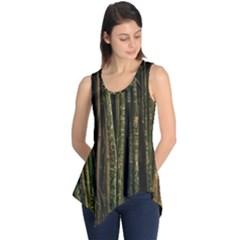 Green And Brown Bamboo Trees Sleeveless Tunic