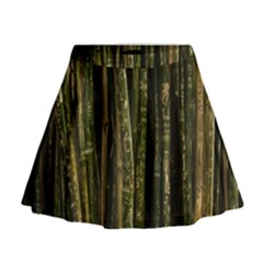 Green And Brown Bamboo Trees Mini Flare Skirt