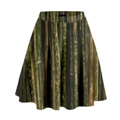 Green And Brown Bamboo Trees High Waist Skirt