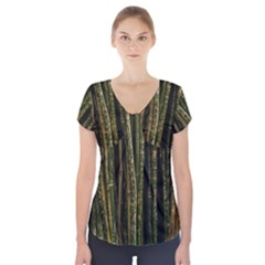 Green And Brown Bamboo Trees Short Sleeve Front Detail Top