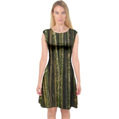Green And Brown Bamboo Trees Capsleeve Midi Dress