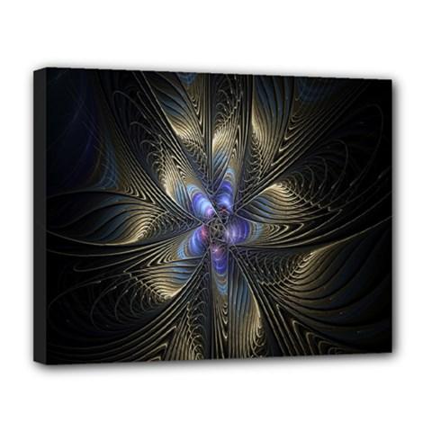 Fractal Blue Abstract Fractal Art Canvas 14  x 11