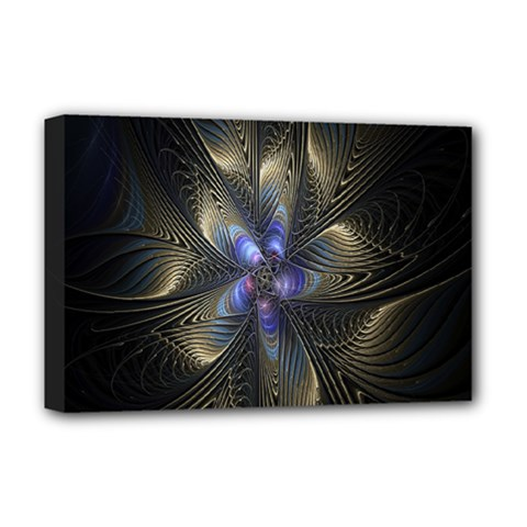Fractal Blue Abstract Fractal Art Deluxe Canvas 18  x 12
