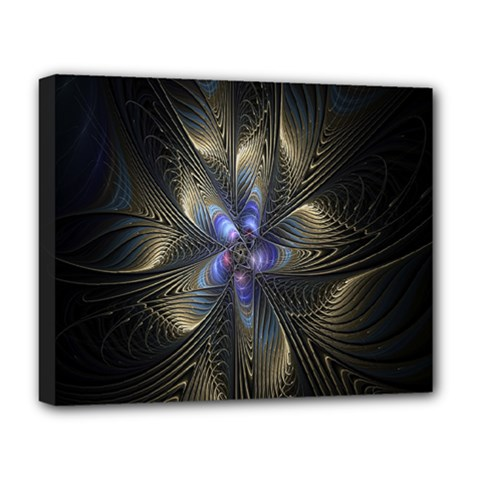 Fractal Blue Abstract Fractal Art Deluxe Canvas 20  x 16