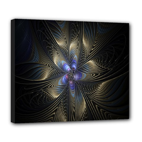 Fractal Blue Abstract Fractal Art Deluxe Canvas 24  X 20