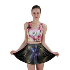 Fractal Blue Abstract Fractal Art Mini Skirt