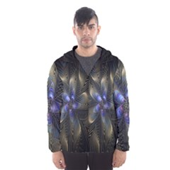 Fractal Blue Abstract Fractal Art Hooded Wind Breaker (men)