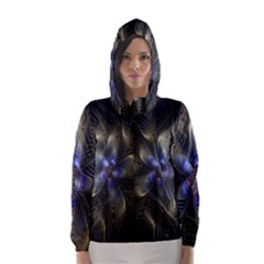 Fractal Blue Abstract Fractal Art Hooded Wind Breaker (Women)