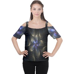 Fractal Blue Abstract Fractal Art Women s Cutout Shoulder Tee
