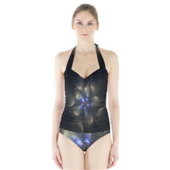 Fractal Blue Abstract Fractal Art Halter Swimsuit