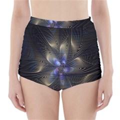 Fractal Blue Abstract Fractal Art High Waisted Bikini Bottoms