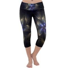 Fractal Blue Abstract Fractal Art Capri Yoga Leggings